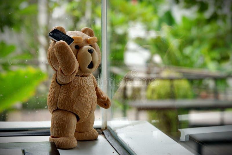 El pequeño oso está llamando imagen de archivo libre de regalías