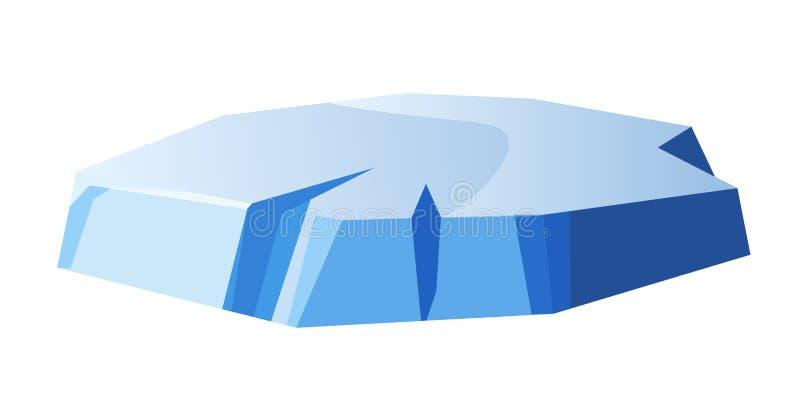 El pequeño pedazo grueso redondo de hielo aisló el ejemplo stock de ilustración