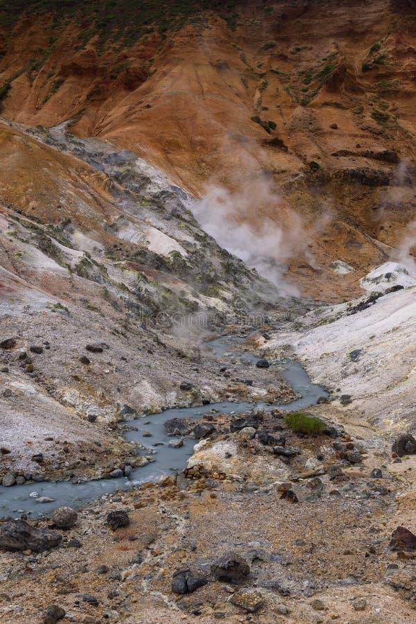 El pequeño río fluye a través de las rocas del valle Jigokudani del infierno fotografía de archivo libre de regalías