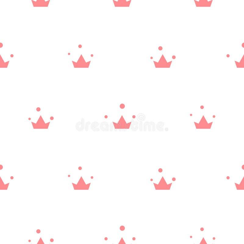 El pequeño rosa lindo corona el modelo inconsútil del vector stock de ilustración