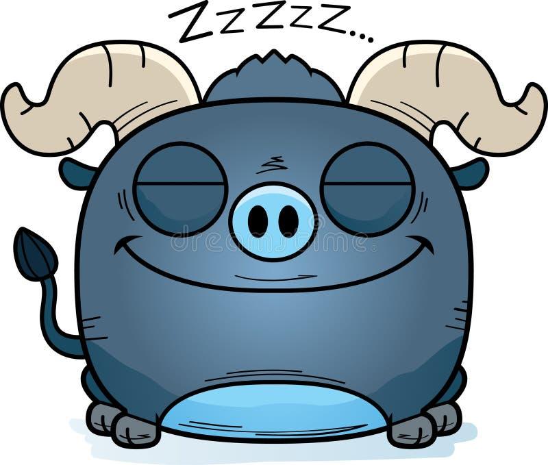 El pequeño tomar una siesta azul del buey de la historieta libre illustration