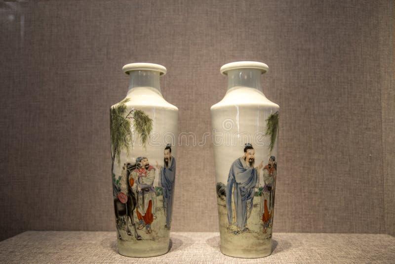 El período del arte de cerámica de la República de China, el polvo pintó la botella simple del ` del mapa del ` imagen de archivo