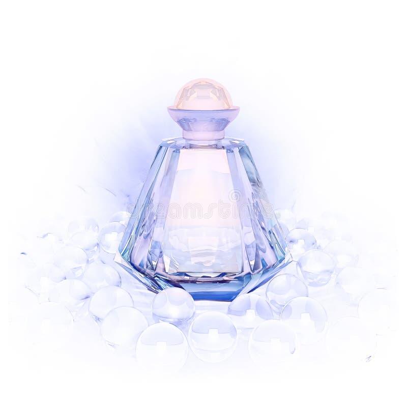 El perfume en las botellas de cristal y perla gotea en blanco fotos de archivo libres de regalías
