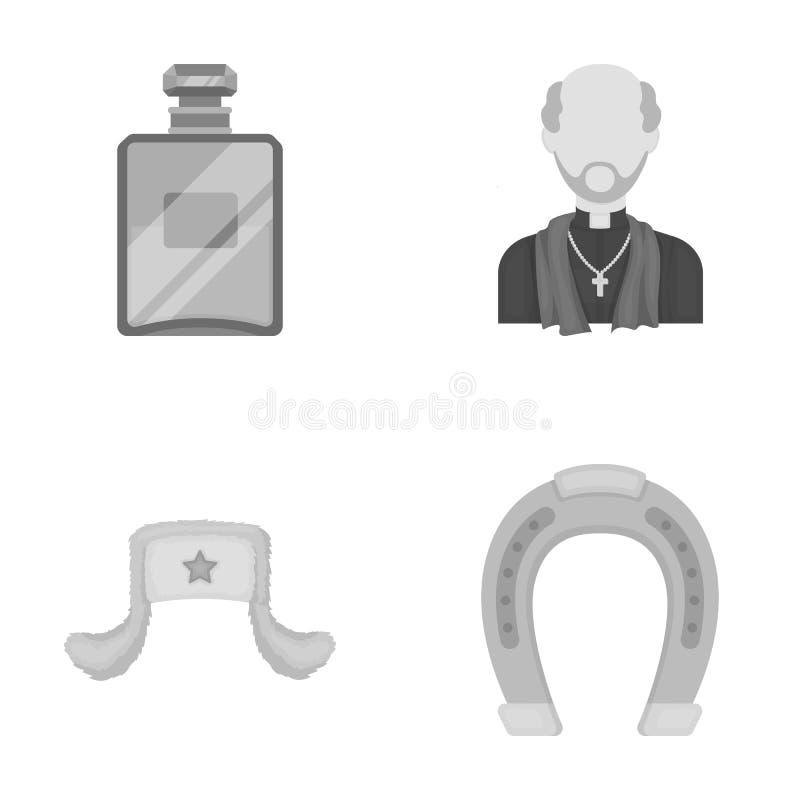 El perfume, la Rusia y el otro icono monocromático en estilo de la historieta religión, iconos del hipódromo en la colección del  stock de ilustración