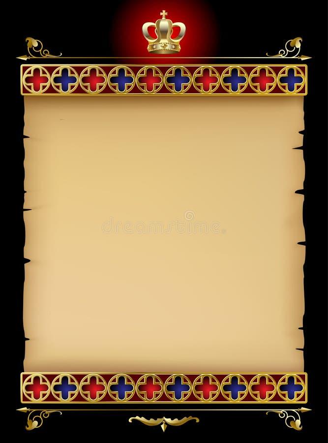 El pergamino viejo con el ornamento gótico del oro y el vintage diseñan el eleme ilustración del vector
