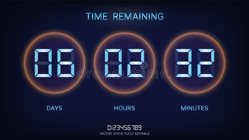 El permanecer del contador de tiempo de la cuenta descendiente o marcador del contador de reloj con la exhibición de los días, de ilustración del vector