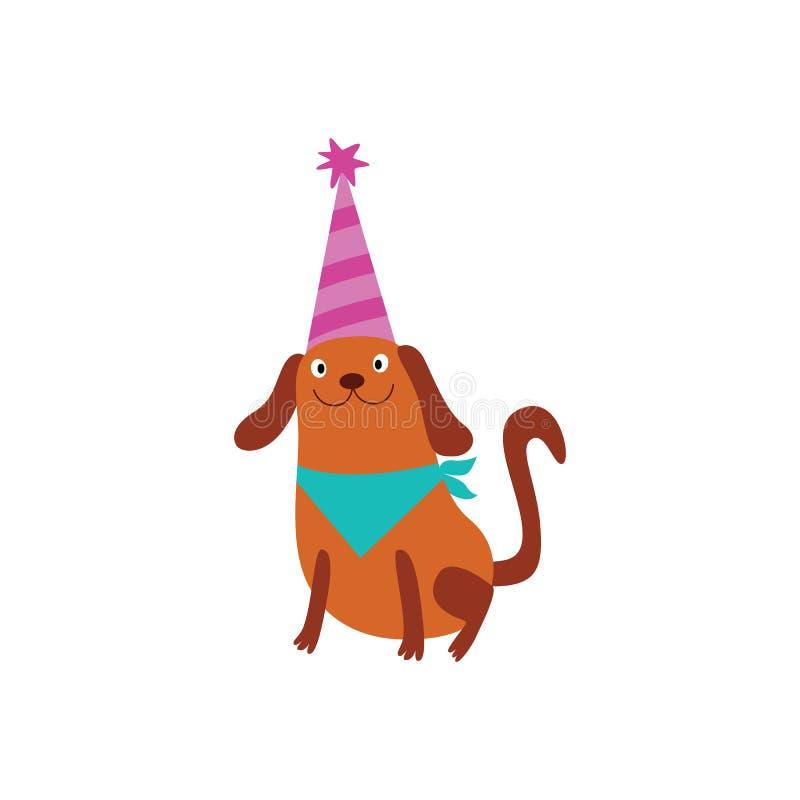 El perrito regordete en el ejemplo plano del vector de la historieta del sombrero de la fiesta de cumpleaños aisló libre illustration