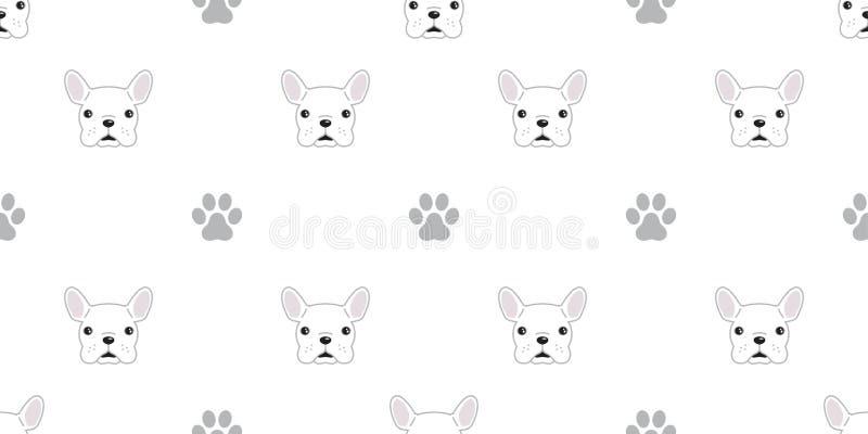 El perro aisló el ejemplo inconsútil del fondo del papel pintado del modelo del icono de la pata del vector del dogo francés ilustración del vector
