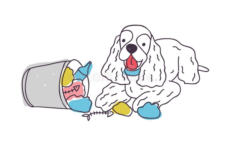 El perro alegre descargó basura fuera de cubo de la basura o del cubo El perrito travieso dispersó la basura aislada en el fondo  ilustración del vector