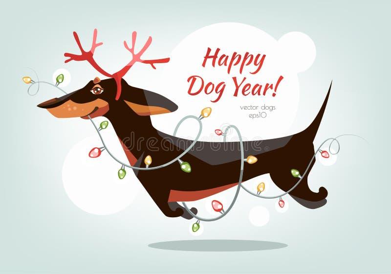 El perro basset divertido y alegre salta con los cuernos libre illustration