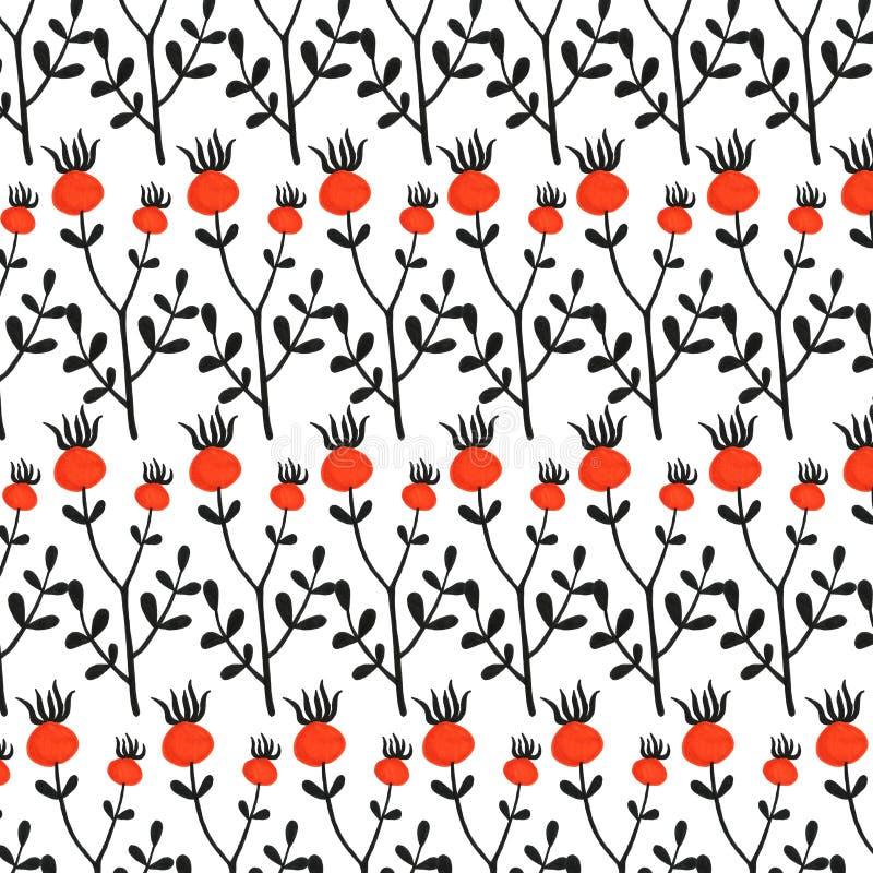 El perro botánico floral primitivo simple exhausto de la mano hermosa subió solo modelo determinado Otoño, caída, cosecha imagen de archivo