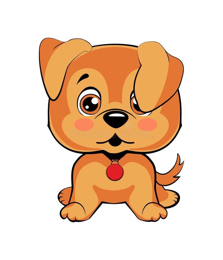 El perro de la historieta del carácter de Emoji desconcertado, arroja y se ruboriza emoticon de la etiqueta engomada libre illustration