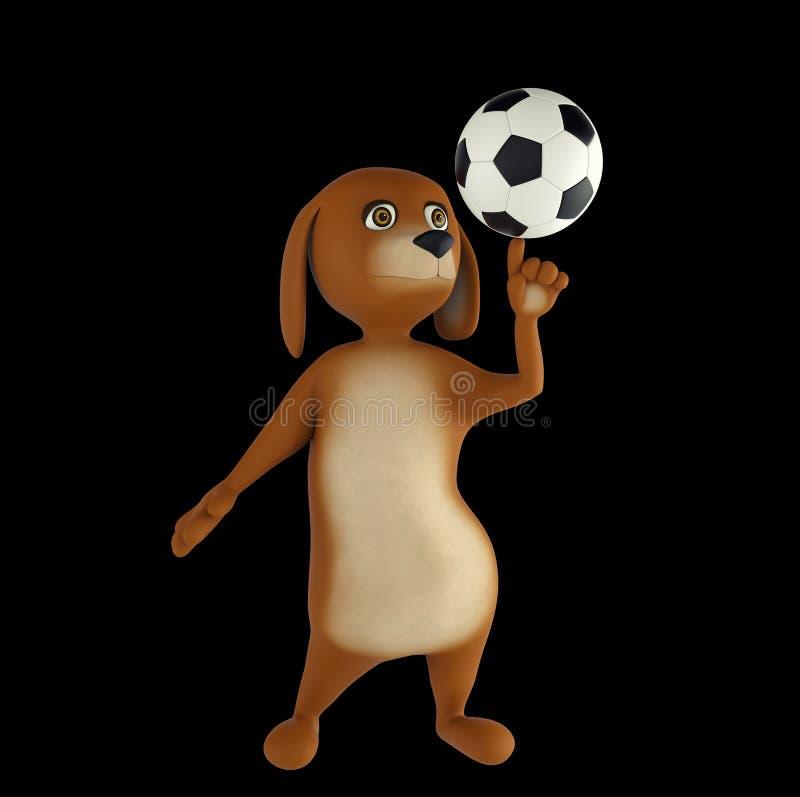 El perro de la historieta está jugando a fútbol Aislado en fondo negro 3d rinden stock de ilustración
