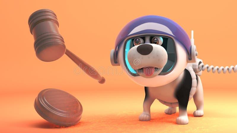 El perro de perrito en spacesuit lleva a cabo la subasta de la gravedad cero, ejemplo 3d libre illustration