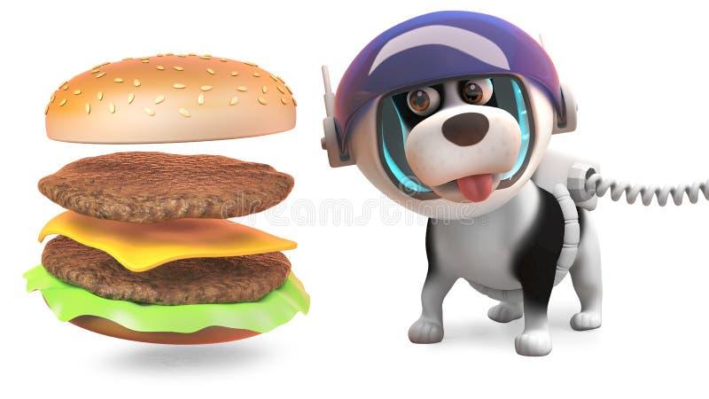 El perro de perrito hambriento en spacesuit mira la hamburguesa montar sí mismo, del queso ejemplo 3d libre illustration