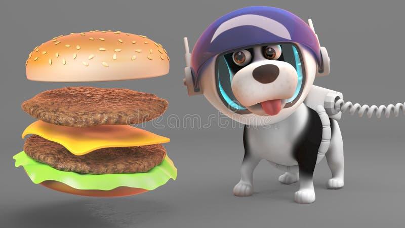 El perro de perrito lindo en traje de espacio mira hambriento la hamburguesa gigante del queso, ejemplo 3d ilustración del vector