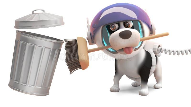 El perro de perrito ordenado en spacesuit limpia con una escoba y un bote de basura, ejemplo 3d ilustración del vector
