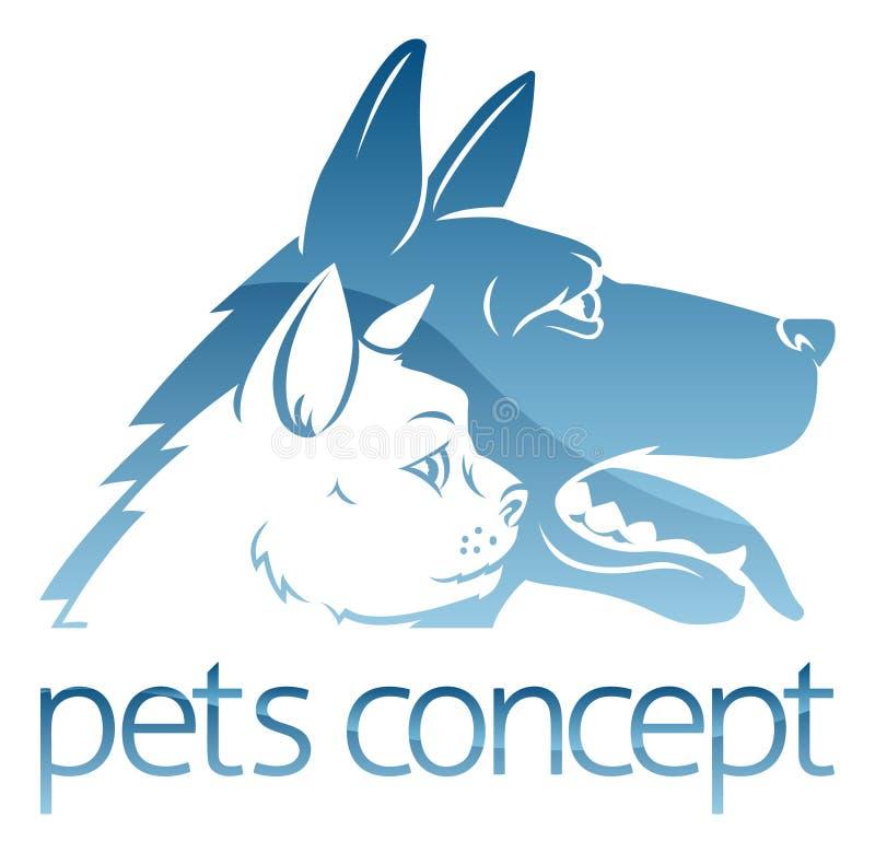 El perro del anuncio del gato acaricia concepto stock de ilustración