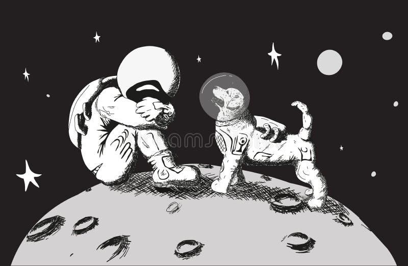 El perro del astronauta se está colocando foto de archivo libre de regalías