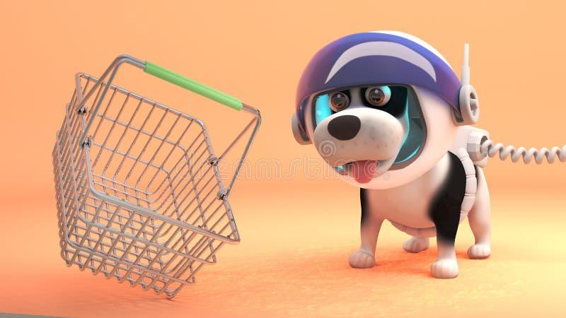 El perro del espacio en spacesuit explora Marte y encuentra una cesta que hace compras, ejemplo 3d libre illustration