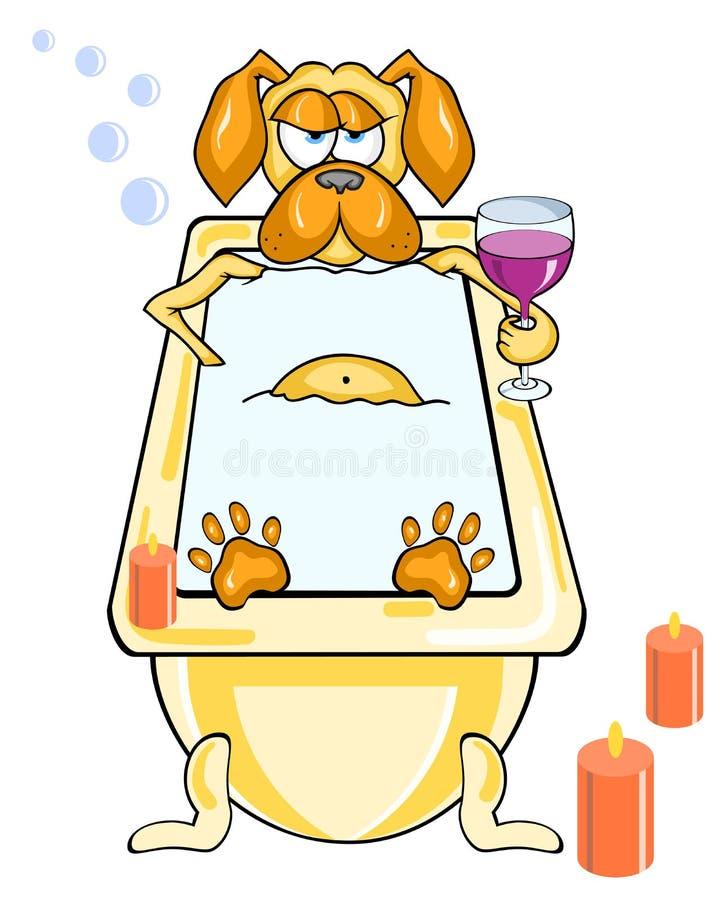 El perro divertido de la historieta toma un baño por luz de una vela y un vidrio de vino stock de ilustración