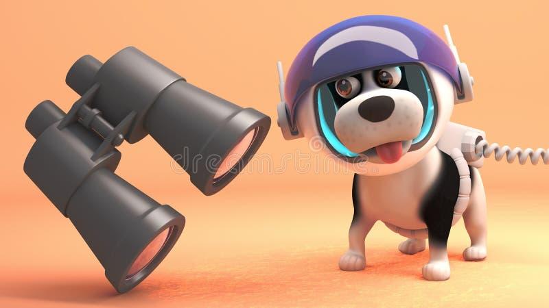 El perro divertido en spacesuit en la superficie de Marte encuentra los prismáticos flotantes, ejemplo 3d ilustración del vector
