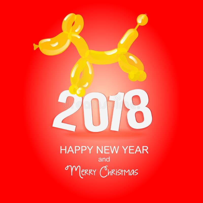 El perro es un globo Año Nuevo y tarjeta de Navidad El perro y su perfil Fondo amarillo Aviador festivo Imagen del vector de un p stock de ilustración