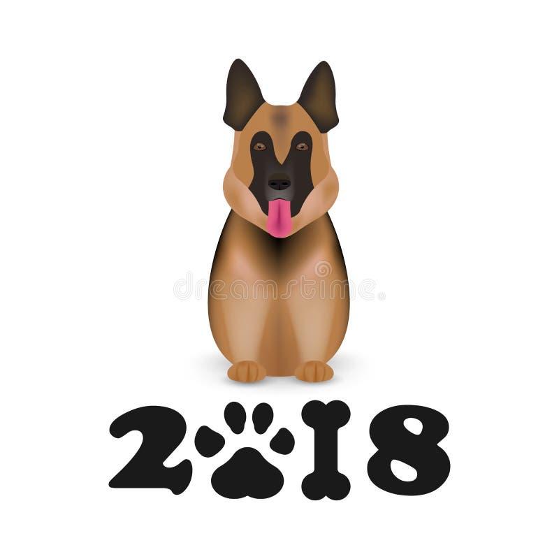 El perro es zodiaco chino del símbolo de los nuevo 2018 años Calendario chino por el Año Nuevo del perro 2018 Perro de pastor ale ilustración del vector