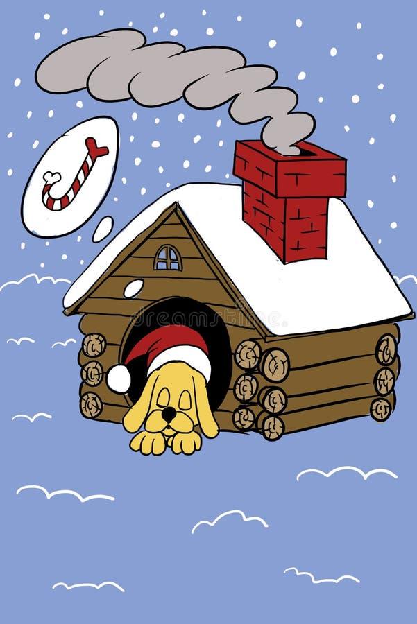 El perro está durmiendo el noche del ` s del Año Nuevo foto de archivo