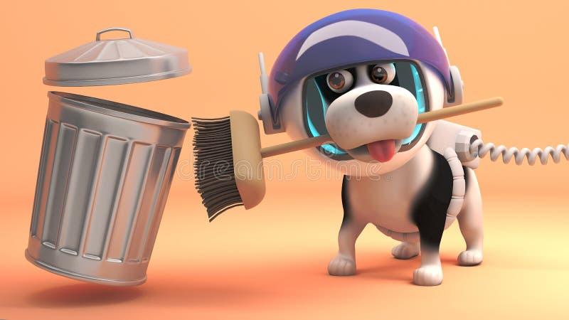 El perro fastidioso del espacio limpia la superficie de Marte con su escoba y bote de basura, del espacio ejemplo 3d libre illustration