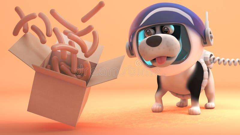 El perro hambriento del espacio en Marte mira el flotador de una caja, de las salchichas ejemplo 3d libre illustration