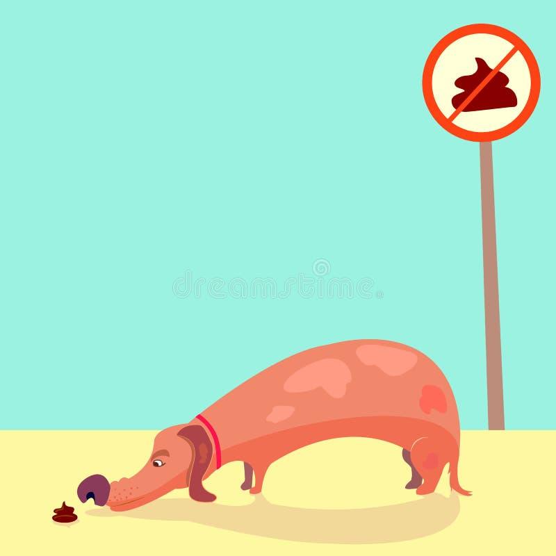 El perro huele impulso perrito con las piernas cortas que huele mierda Ninguna muestra pooping Ejemplo fresco, vector EPS 8 stock de ilustración