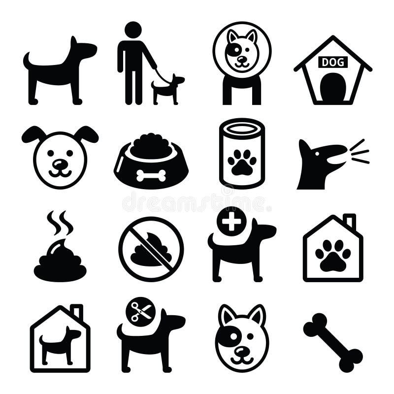 El perro, iconos del animal doméstico fijó - al veterinario, la comida de perro, hotel del perro libre illustration