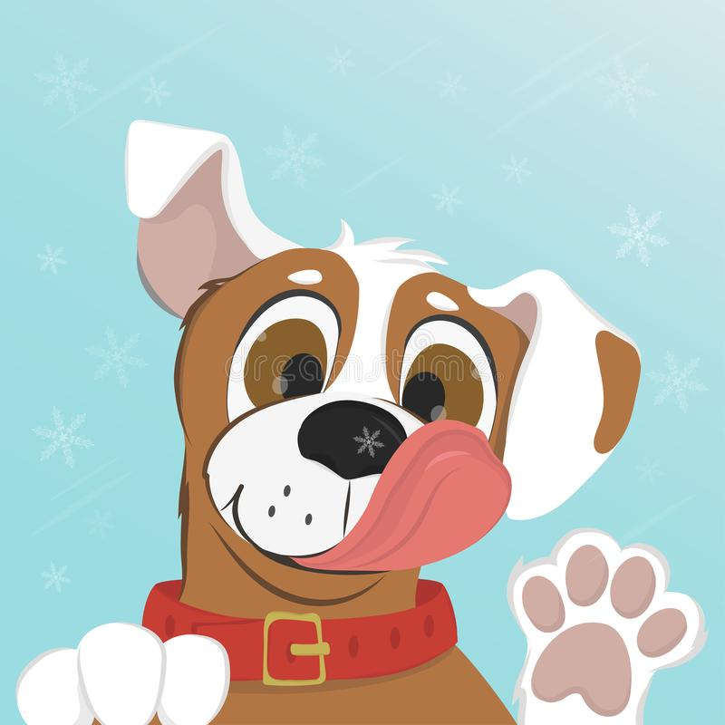 El perro lame un copo de nieve en su nariz stock de ilustración