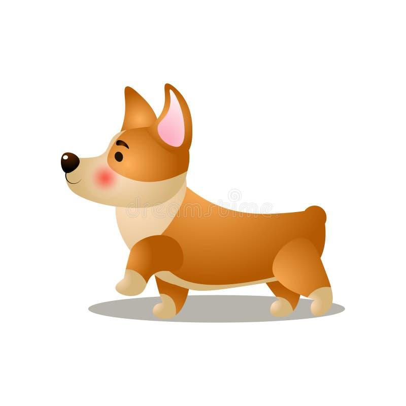 El perro lindo del corgi del perrito es el caminar fuerte en la calle ilustración del vector