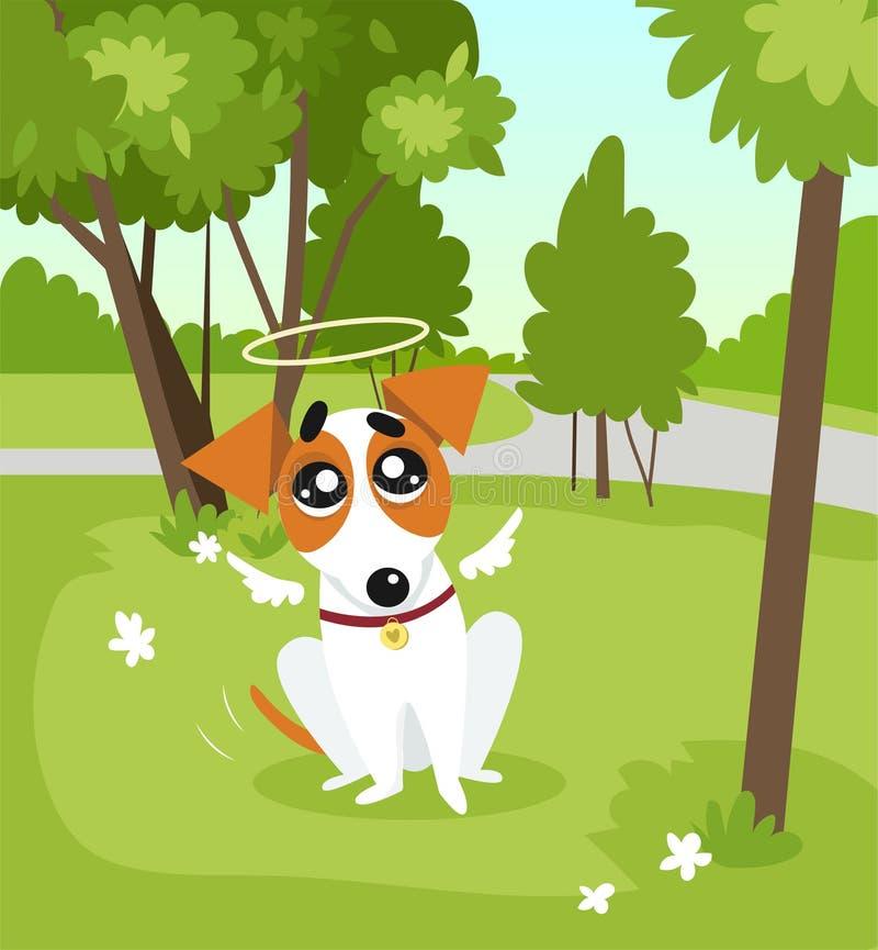El perro lindo del terrier de Russell del enchufe con las alas del ángel y un halo que se sienta en el parque el día de verano ve ilustración del vector