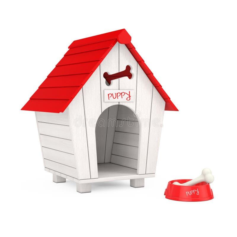 El perro mastica el hueso en el cuenco plástico rojo para el perro delante de la casa de perro de madera de la historieta represe imagen de archivo