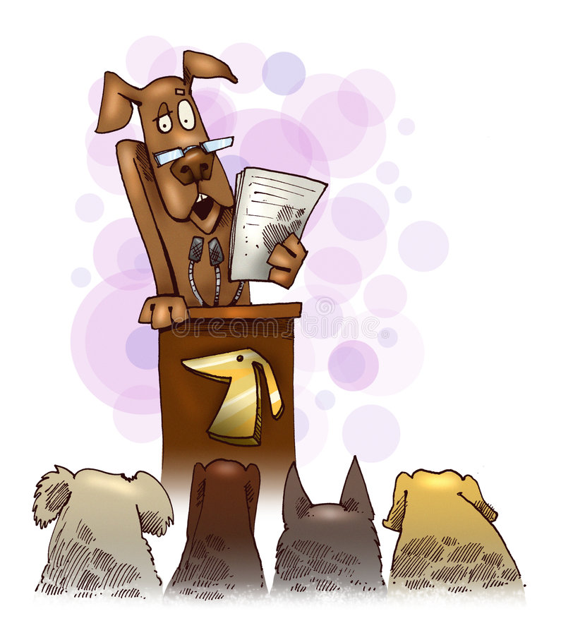 El perro pronunciar un discurso libre illustration