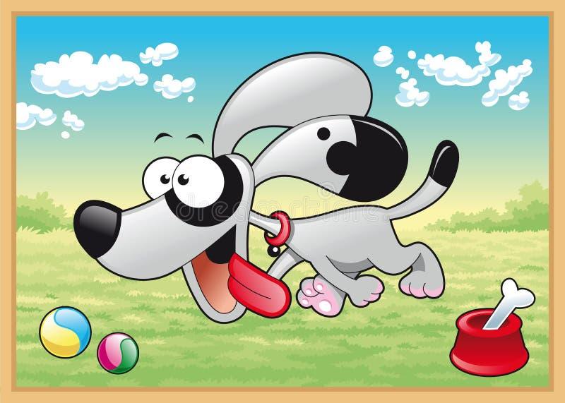 El perro se está ejecutando en prado stock de ilustración