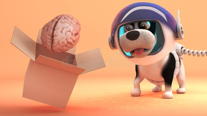El perro valiente del espacio en spacesuit explora Marte y encuentra un cerebro en una caja, ejemplo 3d stock de ilustración