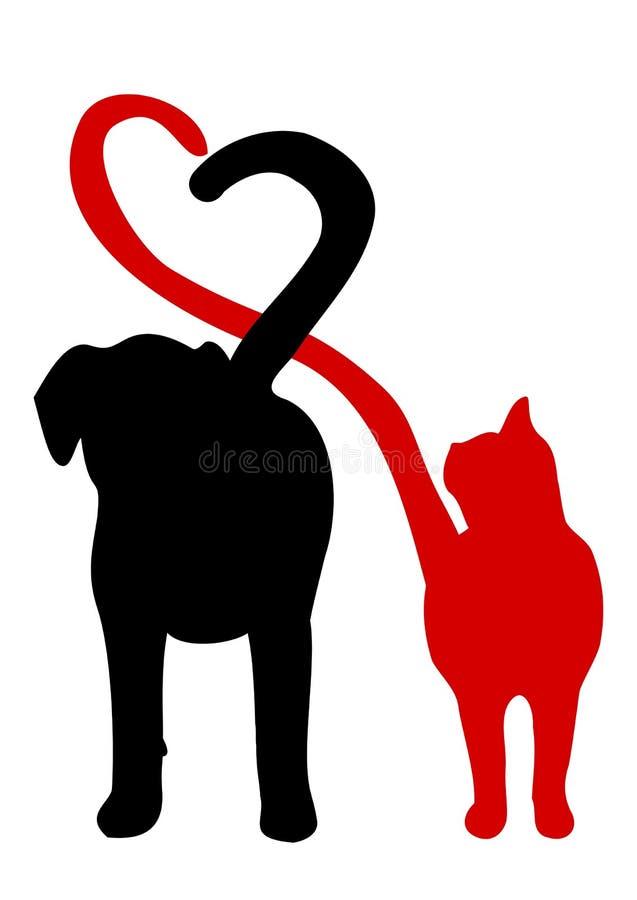 El perro y el gato siluetean la fabricación de un corazón en la cola ilustración del vector