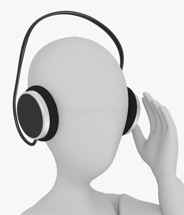 El personaje de dibujos animados con los auriculares escucha algo stock de ilustración