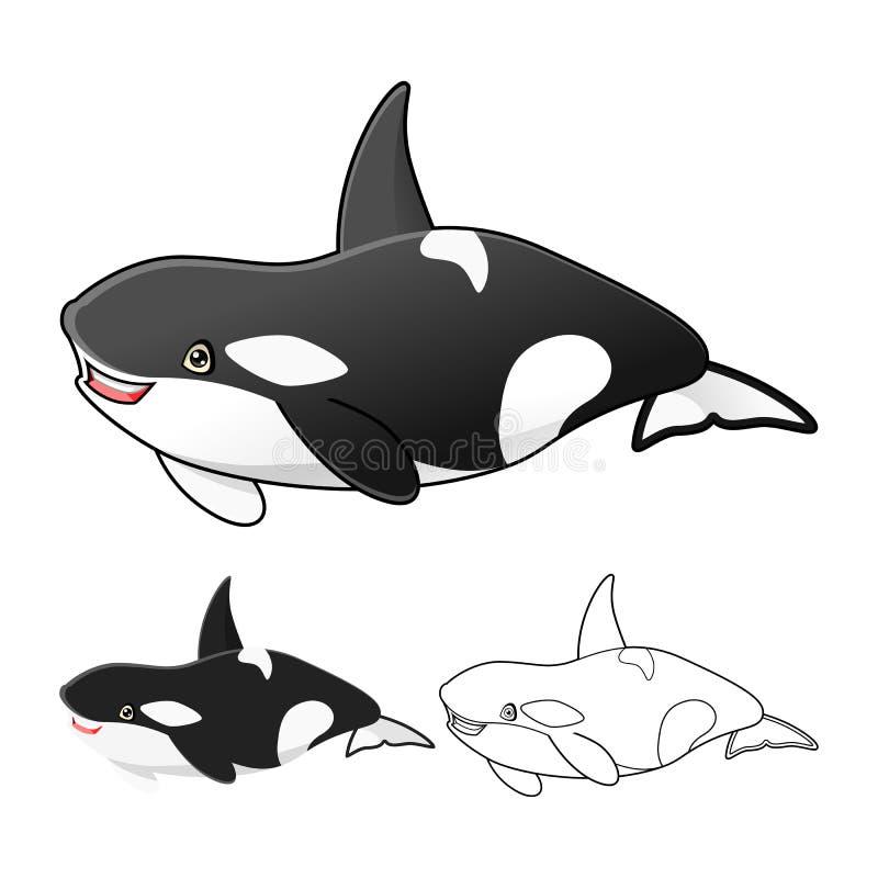 El personaje de dibujos animados de alta calidad de la orca de la orca incluye el diseño y la línea planos Art Version libre illustration