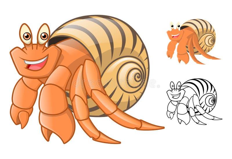 El personaje de dibujos animados de alta calidad del cangrejo de ermitaño incluye el diseño y la línea planos Art Version libre illustration