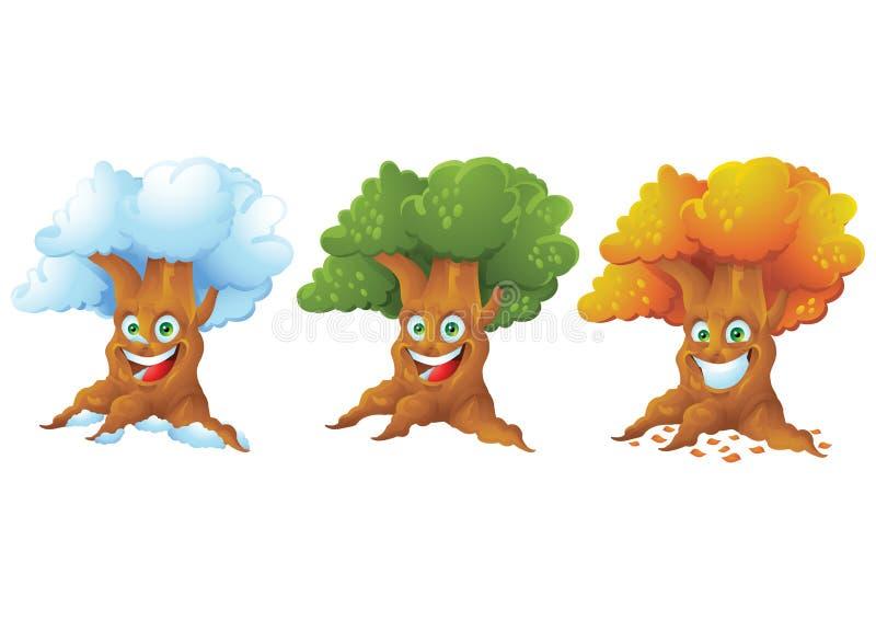 El personaje de dibujos animados de risa del árbol aisló el sistema stock de ilustración