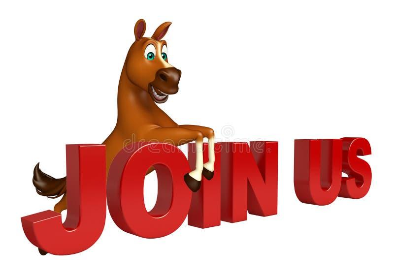 el personaje de dibujos animados del caballo de la diversión con se une a nos muestra libre illustration