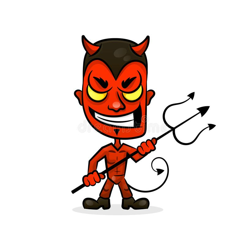 El personaje de dibujos animados del diablo se divierte la cara de la mascota con una mueca malvada libre illustration