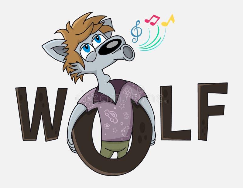 El personaje de dibujos animados divertido del lobo canta Diseño del logotipo del vector del club del Karaoke Publicidad para el  libre illustration