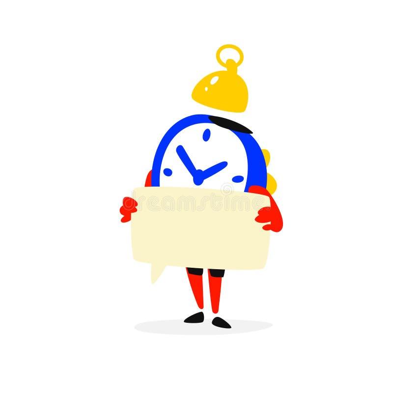 El personaje de dibujos animados es un despertador Vector El tiempo se está ejecutando hacia fuera Reloj con una muestra Esperas  stock de ilustración