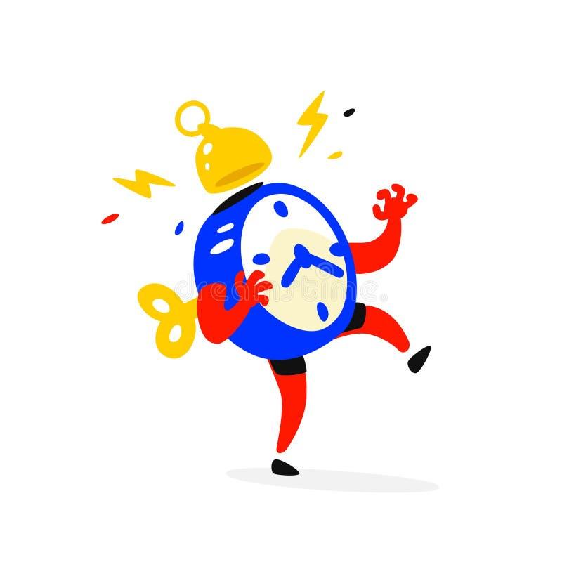 El personaje de dibujos animados es un despertador Vector El tiempo se está ejecutando hacia fuera El reloj está sonando El tiemp ilustración del vector